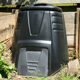 Compost bins are popular in small spaces.
