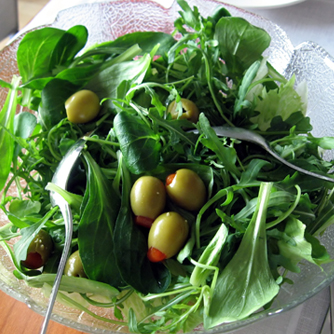 Green salad with a few stuffed olives. Yum!